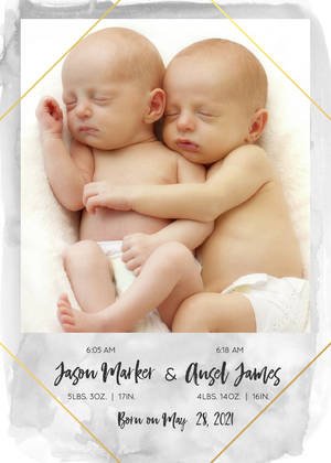 Watercolor Twin Birth Announcement