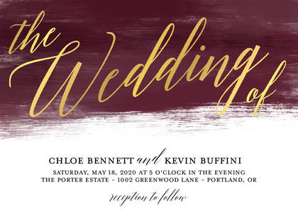 Painted Burgundy Foil Script Wedding