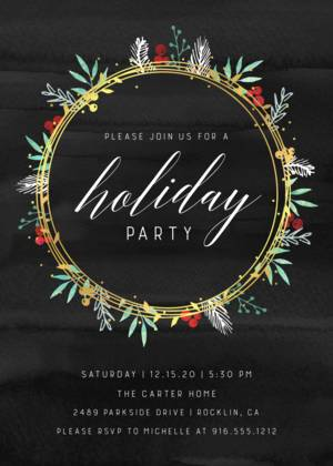 Foil Wreath Foliage Invitation