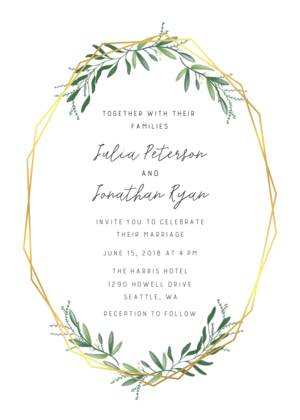 Wedding Invitations Template.Foil Stamped Wedding Invitations Foiled Pressed Gold And