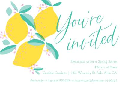 Fresh Lemons Invitation by Pennie Post