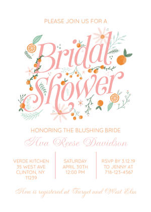 Orange Blossom Bridal Shower by Yellow Heart Art