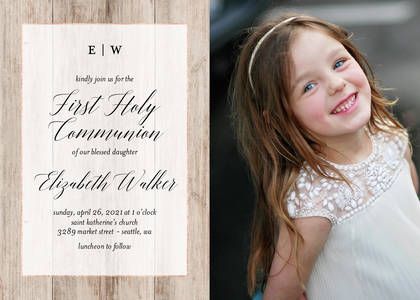 Rustic First Communion Card