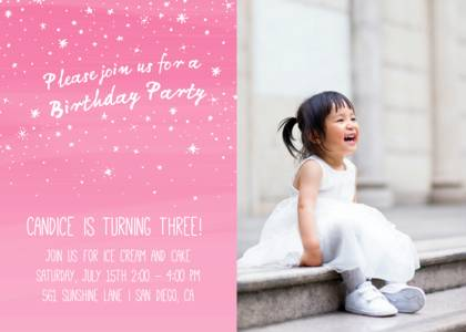 Sparkly Birthday Party Invitation by Pennie Post