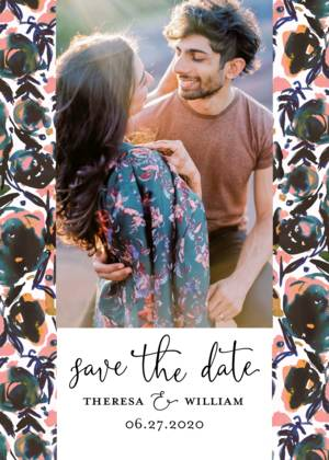 Asymmetrical Floral Save The Date