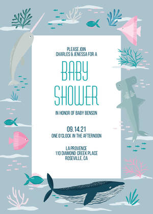 Under The Sea Baby Shower Invitation Girls Baby Shower Invitations