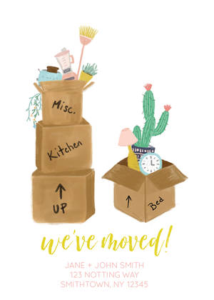 Moving Boxes Announcement By Yellow Heart Art