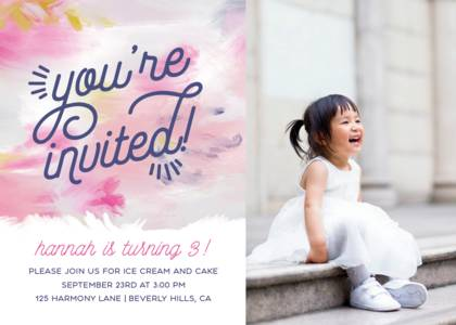 Painted Birthday Invitation by Yellow Heart Art