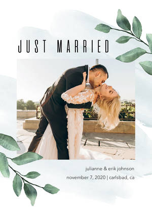Just Married Foliage Frame