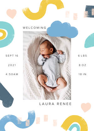 Bold Organic Shapes Birth Announcement