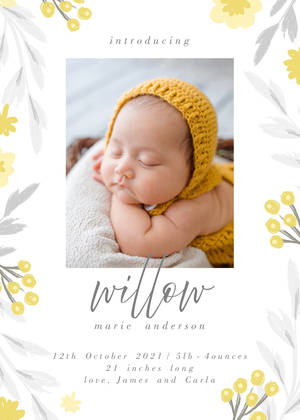 Yellow and Grey Florals Birth Announcement
