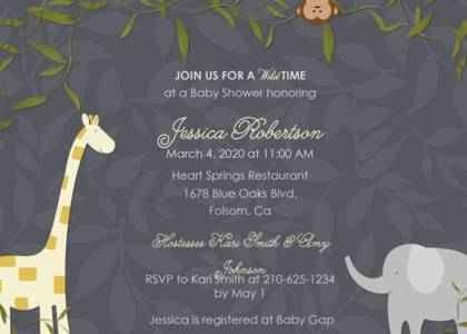 Girls Baby Shower Invitations - Jungle Gang by Mixbook