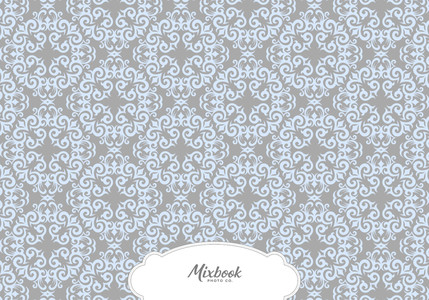 Blue and Grey Damask Thank You