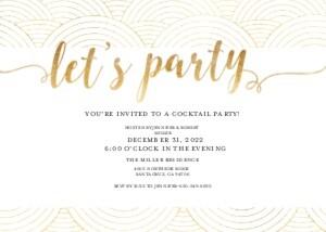 Gold White Party Invitation