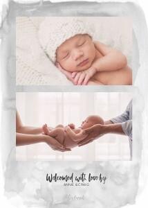 Watercolor Twin Birth Announcement