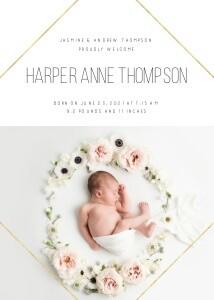 Simple Diamond Baby Announcement