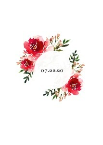 Red Watercolor Floral Wedding