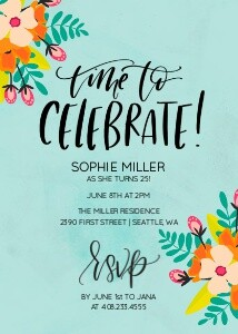 Colorful Birthday Invitation by the Pigeon Letters
