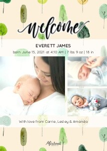 Forest Baby Announcement by the Pigeon Letters