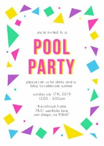 80's Pool Party Invitation